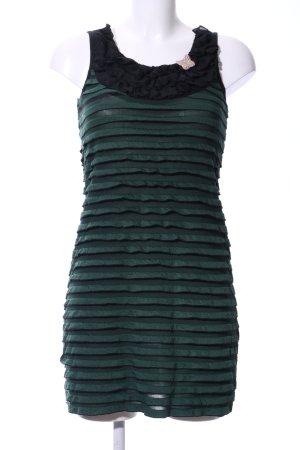 Apricot Robe stretch vert-noir motif rayé élégant
