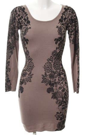 Apricot Knitted Dress beige-black floral pattern