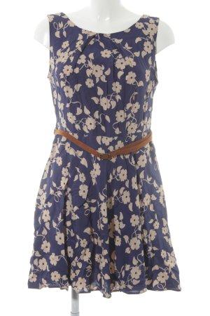 Apricot Trägerkleid stahlblau-creme Blumenmuster Casual-Look