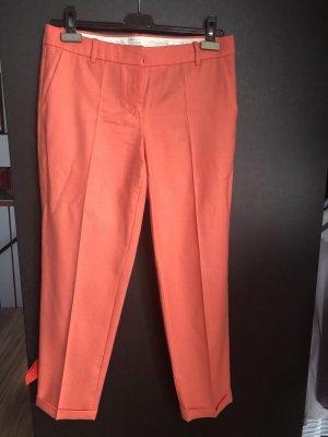 Apricotfarbene Zigarettenhose, reine Schurwolle, 7/8 Länge