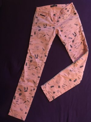 Apricotfarbige Jeans mit Skizzenmuster von Maison Scotch