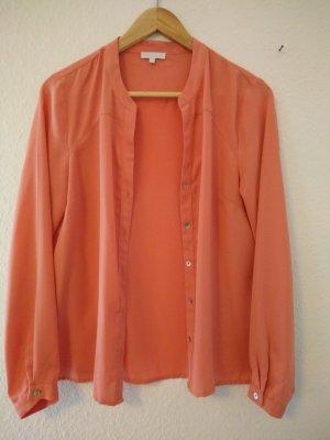 aprikotfarbene Langarm-Bluse