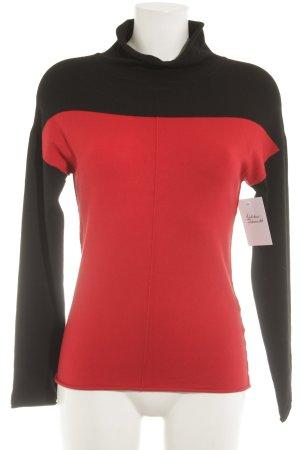 Apriori Jersey de cuello alto negro-rojo Estilo años 60