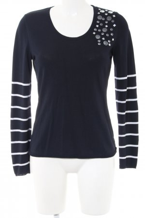 Apriori Crewneck Sweater blue-white striped pattern casual look