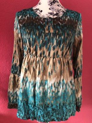 Apriori Silk Blouse camel-turquoise silk