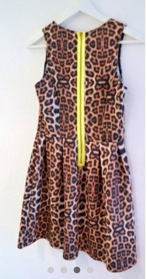 Aqua Kleid Minikleid Leo Animal Print Look Neon Skaterkleid Skaterdress