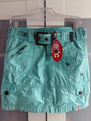 Aqua Türkis Cargorock mit breitem Gürtel und Taschen