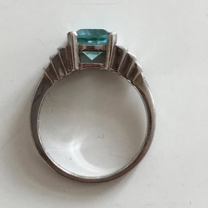 Vintage Silver Ring silver-colored-azure real silver