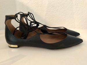 Aquazzura Schuhe Christy Ballerinas 39,5 Schwarz Gold Leder Spitz Ballett Black