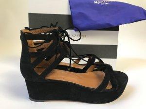 Aquazzura Sandalo con plateau nero Scamosciato