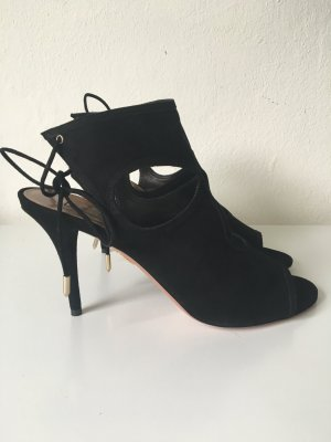 Aquazzura 'Sexy Thing' Sandale aus schwarzem Velourleder NEU in 41