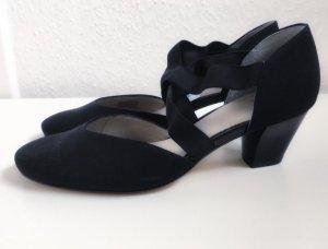 Ara Kitten Pumps Schuhe elastisches Gummiband schwarz Luxus hochwertig 37,5 NEU