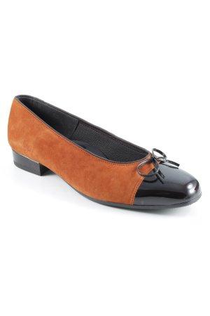 ara Peep Toe Ballerinas brown-black casual look