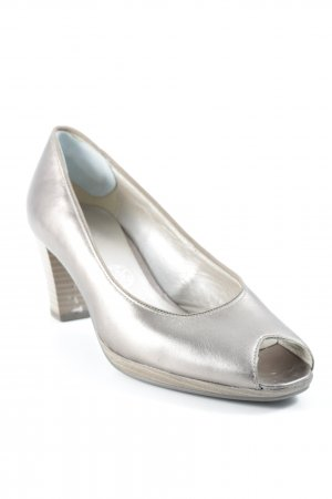 ara Peeptoe Pumps goldfarben Metallic-Optik