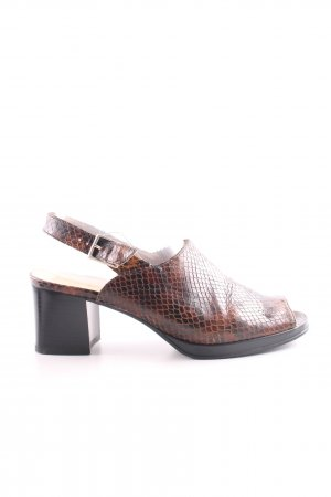 ara Strapped High-Heeled Sandals brown-black animal pattern casual look