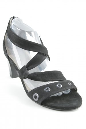 ara Strapped High-Heeled Sandals black-silver-colored casual look
