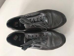 Ara Sneaker Schuhe Gr 5 Gr 38 Grau Lack Leder Reißverschluss NP 120€ Luftpolster Sohle Elegant