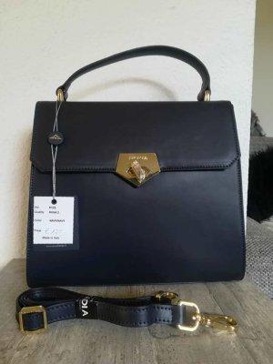 ARCADIA Henkeltasche Tasche Echt Leder Made in Italy Dunkelblau Schultergurt