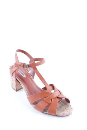 Arezzo Strapped High-Heeled Sandals cognac-coloured classic style