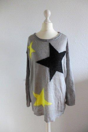 Arizona AJC Pulli Pullover Longpulli Oversize grau gelb schwarz Sterne Gr. 32/34 (36/38)