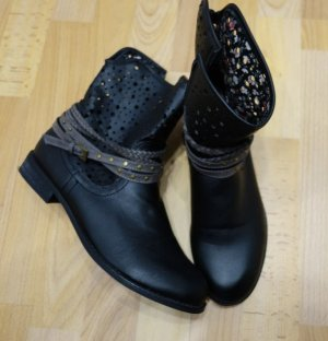Arizona Ankle Boots Stiefeletten Lochmuster schwarz Gr. 40 Schuhe