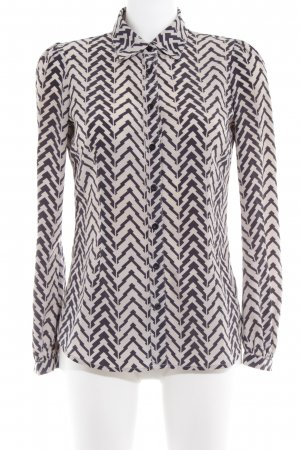 Ark & Co Long Sleeve Blouse cream-anthracite zigzag pattern classic style