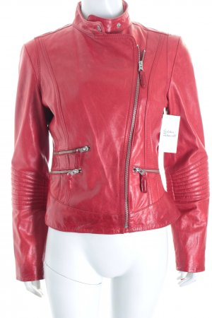 Arma Collection Chaqueta de cuero rojo Estilo ciclista
