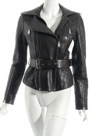 Arma Collection Lederjacke schwarz Steppmuster Biker-Look