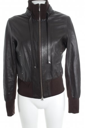 Arma Collection Chaqueta de cuero marrón-negro look casual