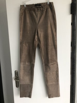 Arma Collection Pantalon en cuir gris brun-doré cuir