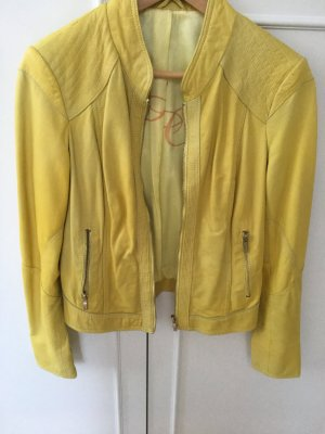 Arma Collection Chaqueta de cuero amarillo-amarillo pálido
