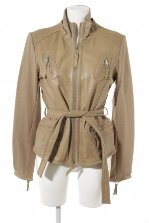 Arma Women Leather Jacket camel material mix look