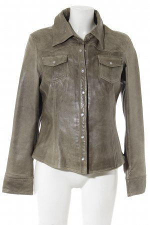 Arma Women Leather Jacket green grey country style