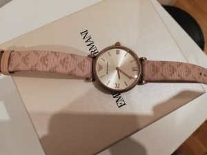 Armani Watch With Leather Strap rose-gold-coloured-light brown leather