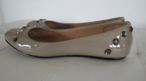 Armani Jeans Patent Leather Ballerinas oatmeal-silver-colored leather