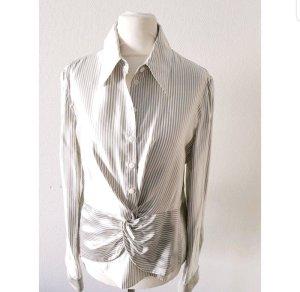 Armani Collezioni Blouse en soie gris clair-blanc soie