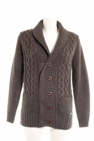 Armani Collezioni Coarse Knitted Jacket dark grey weave pattern classic style