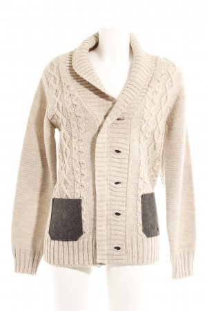 Armani Collezioni Grof gebreid vest licht beige Webpatroon klassieke stijl
