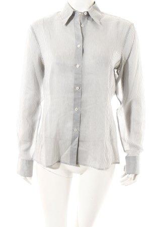 Armani Collezioni Langarm-Bluse weiß-blassblau Streifenmuster klassischer Stil