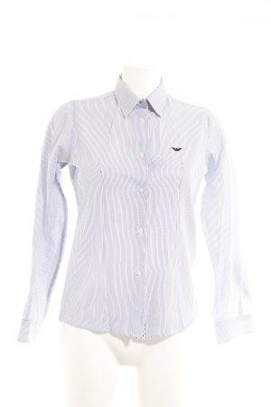 Armani Collezioni Chemise à manches longues blanc-bleu acier rayure fine