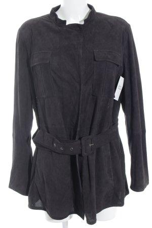 Armani Collezioni Lederen blouse zwart casual uitstraling