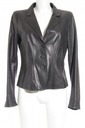 Armani Collezioni Leather Jacket dark grey wet-look