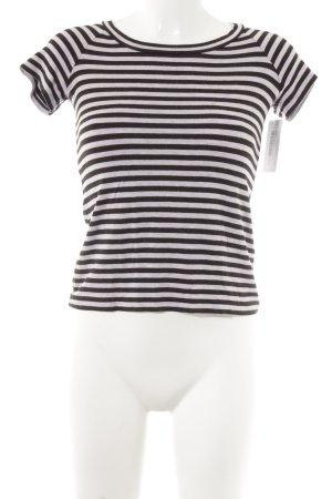 Armani Collezioni T-Shirt schwarzbraun-blasslila Streifenmuster Casual-Look