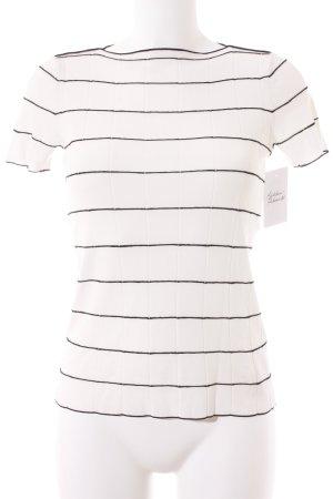 Armani Collezioni T-Shirt weiß-schwarz Streifenmuster Casual-Look