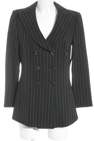 Armani Collezioni Tweed blazer zwart-wit krijtstreep zakelijke stijl