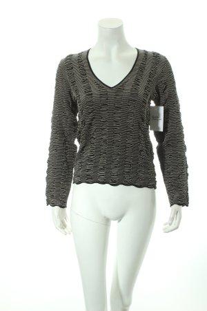 Armani Collezioni V-Ausschnitt-Pullover schwarz-weiß Streifenmuster Casual-Look