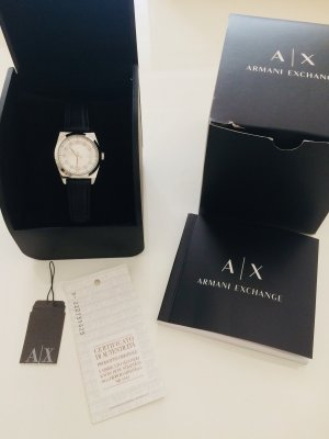 Armani Exchange Watch With Leather Strap black-silver-colored leather