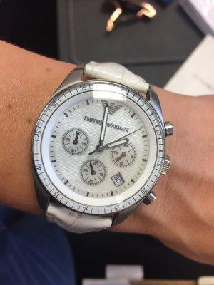 Armani Reloj con pulsera de cuero blanco