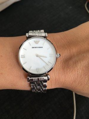 Armani Damen Uhr AR 1682, silbern, Perlmutt, super Zustand