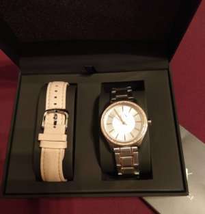 Armani Exchange Montre avec bracelet en cuir multicolore